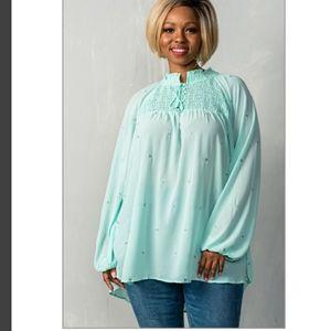 XL & Plus Size Mint High Neck Sheer Chiffon Blouse